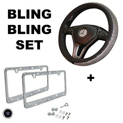 Car Bling Set Steering Wheel Cover License Plate Frame Ring Sticker  Cover Plate Set