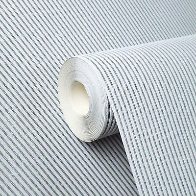 (15m vinyl Wallpaper stripes textured modern lines wall coverings roll White Grey)