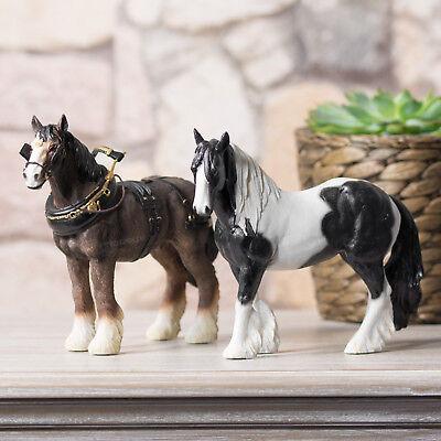 2 Piece Gypsy Cob Shire Horse Ornament Set Figurine Statue Sculpture Figure