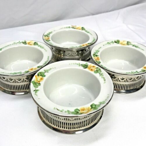 RARE Vintage Royal Rochester Silver Plated Coasters Handpainted Floral Dishes