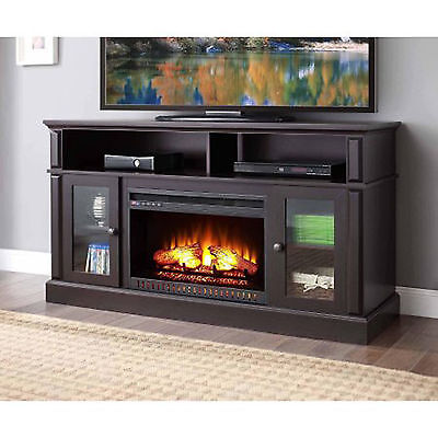 TV Stand Media Fireplace 70 Entertainment Storage Wood Console