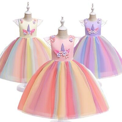 Childrens Wedding Dress Costume (Kids Girls Costume Unicorn Party Dress Up Fancy Gown Wedding Cosplay)