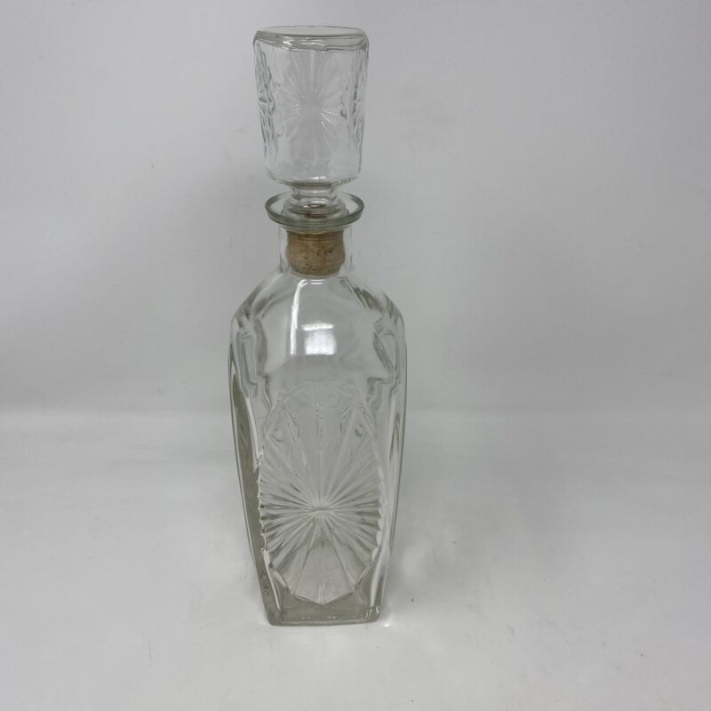 Wine Decanter Cut Etched Clear Glass Vintage W/ Cork Stopper