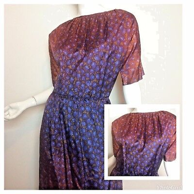 VTG 50's 60's Fashion Frock Ombre Floral Acetate Day Dress S/M