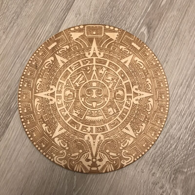 Aztec Calendar Laser Engraved On Baltic Birch Wood. Absolutely Stunning Detail!