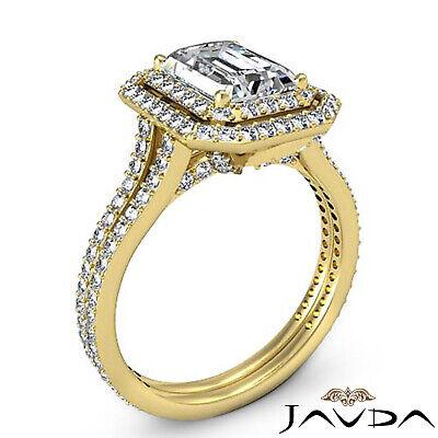 Double Halo Pave Split Shank Emerald Diamond Engagement Ring GIA H VS2 2.6 Ct 7