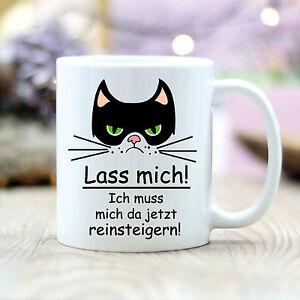 T102 Wandtattoo-Loft Kaffee Tasse Katze Cat Lass mich reinsteigern grumpy Spruch