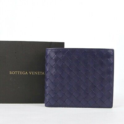 Bottega Veneta Men's Dark Blue Leather Intrecciato Bi-fold Wallet 113993 4156 Blue Bi Fold Wallet