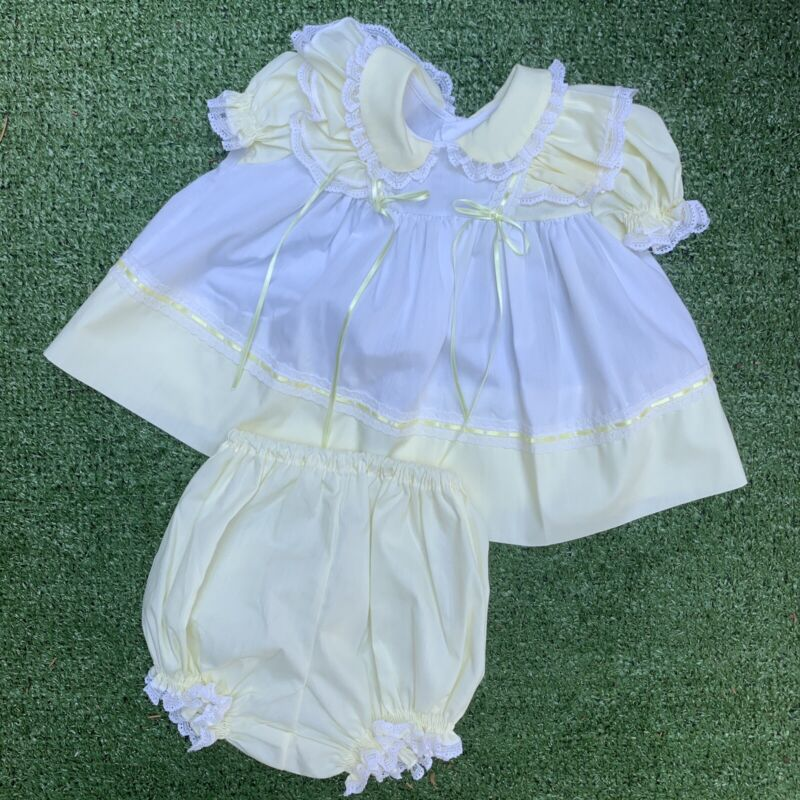 Vintage Bryan Baby Girl Dress and Bloomers 3-6 Months White And Yellow