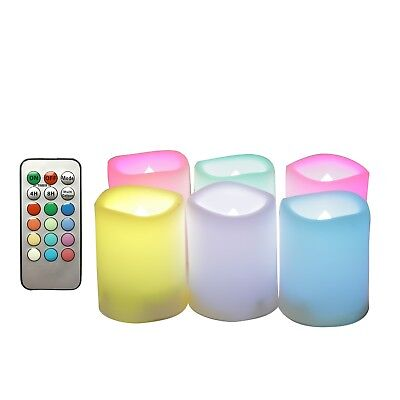 Battery Operated LED Flameless Flickering Votive Candle w/ Remote Wedding 6 Pack