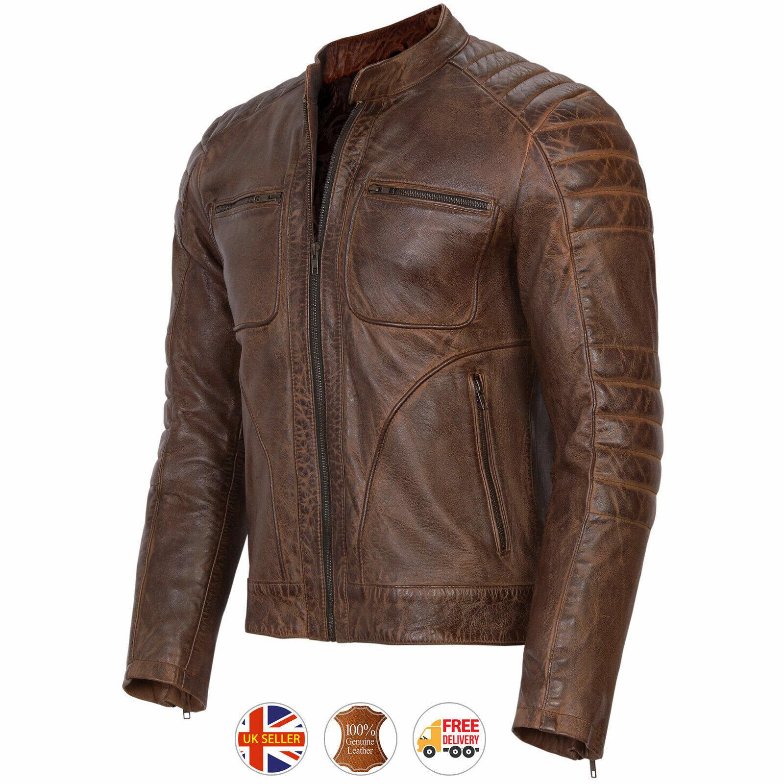 Da Uomo Nera In Pelle Giacca Biker Moto VINTAGE CAFE RACER Genuine Leather