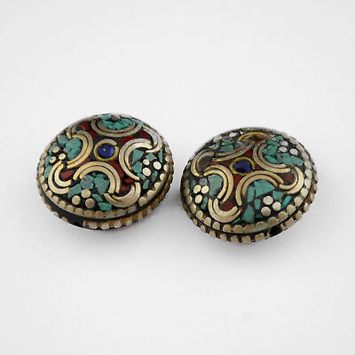 Turquoise Coral Lapis 2 Beads Tibetan Nepalese Handmade Tibet Nepal UB2558