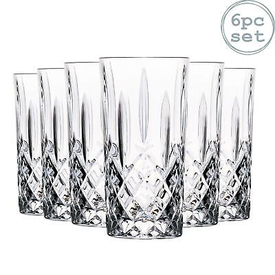 6x Highball Cocktail Glasses Set RCR Crystal Cut Glass Drinking Tumblers 396ml
