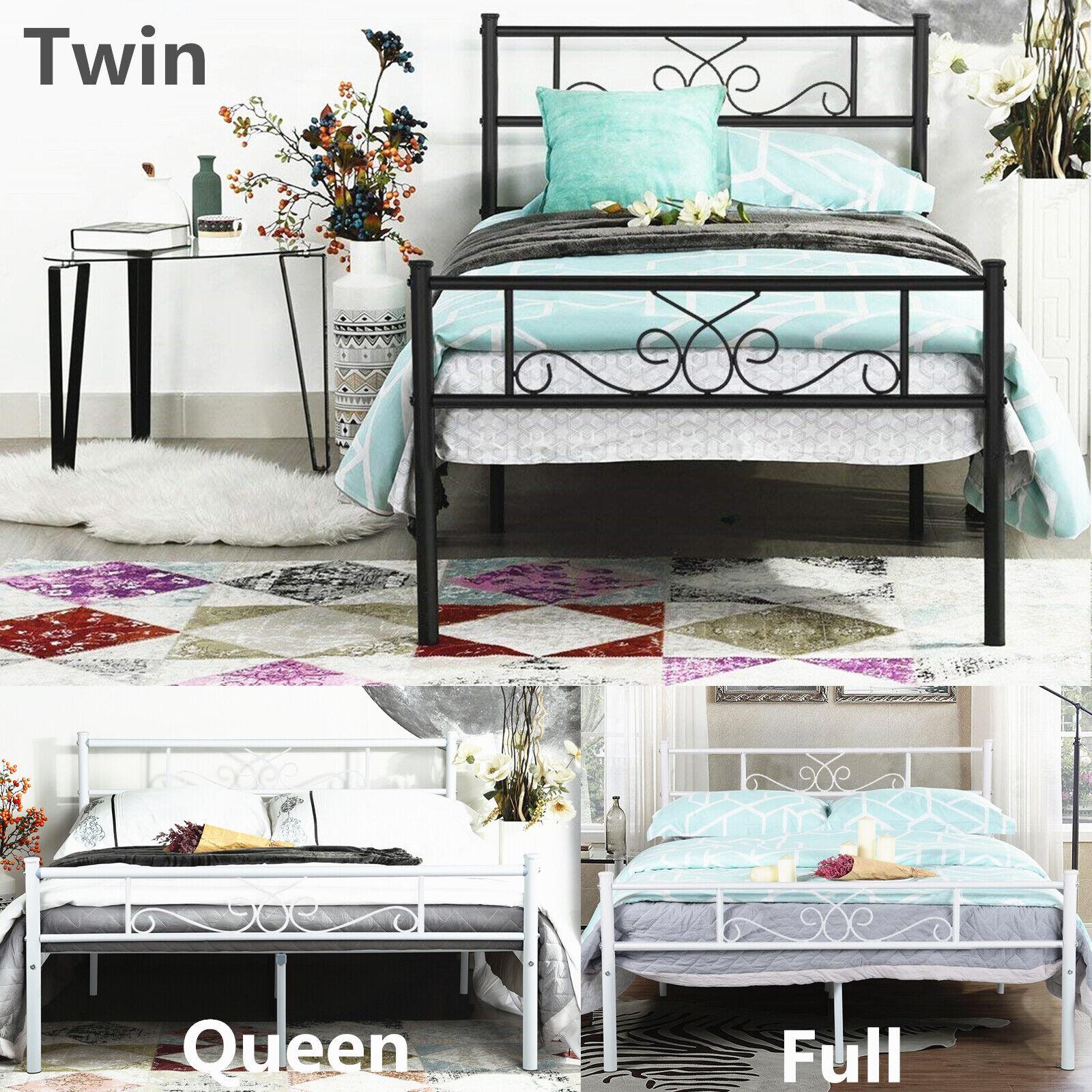 Metal Bed Frame Twin Full Queen Size Bedroom Mattress Founda