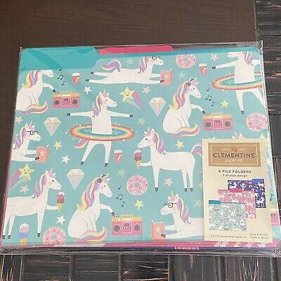 Clementine Paper Inc File Folders 9 Pack Unicorn Designs Home Office School