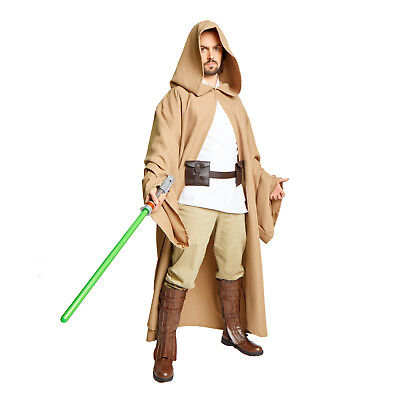 JEDI Obi Wan Wizard Costume STAR WARS CLOAK MONK Adult Robe Desert Khaki - Desert Costume