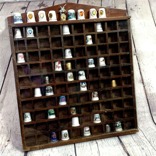 Vintage Thimble Display Shelf Wood Glass Front Collectible Curio Cabinet 39 Lot
