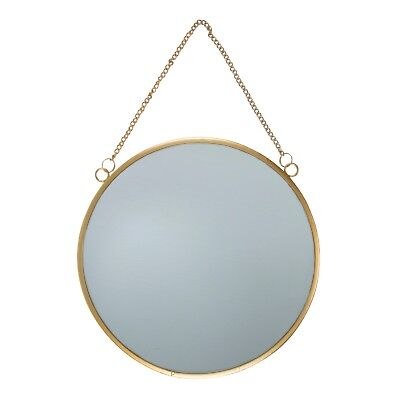 Sass & Belle Touch of Gold Metal Frame Round Mirror Chain Link Wall Hanging 25m