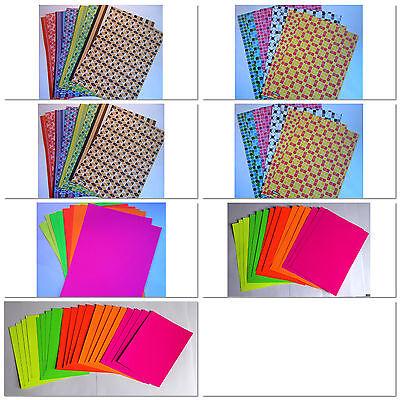 Bastelpapier im Set, Neonkarton, Glanzpapier, Dekopapier, Colorpapier, Basteln