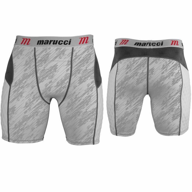 Marucci Youth Baseball Padded Sliding Shorts With Cup - White Storm - Medium