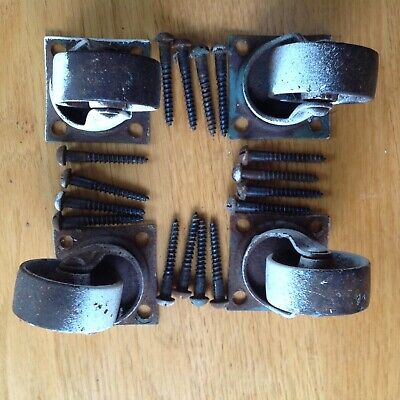 4 Antique Metal Casters Industrial Wheels Square Base W Screws
