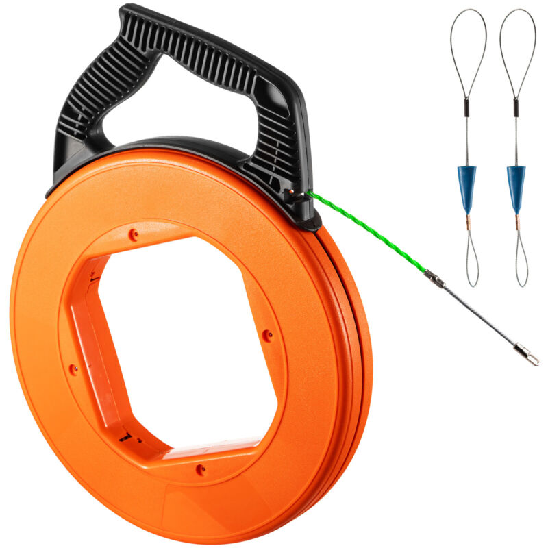 VEVOR Fish Tape 3/16 in x 125ft Nylon Wire Cable Puller Electrician Reel Tape