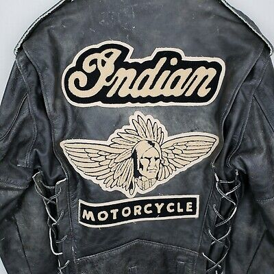 USAVintage Indian Motorcycle Leather Jacket w Patch - Distressed - Size Medium