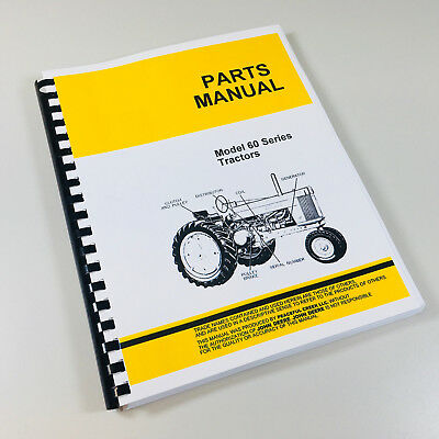 Parts Manual For John Deere 60 Tractor Catalog Exploded Views Numbers Assembly