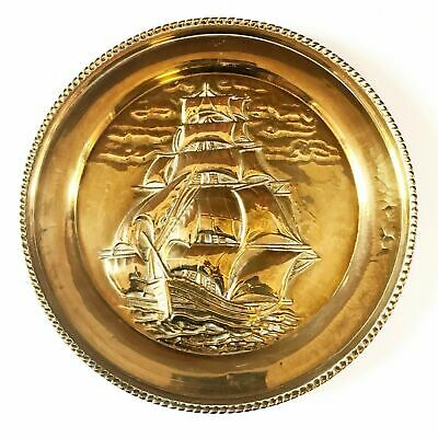 Vintage Extra Large Brass Plate Round Tray Embossed Frigate Nautical Wall Decor