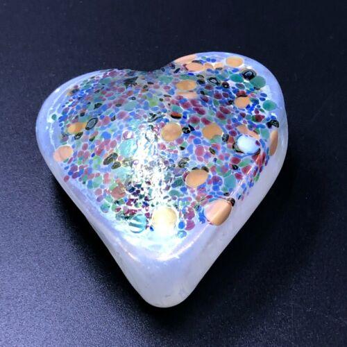 Signed Robert Held Art Glass Heart Paperweight Iridescent Confetti RHAG