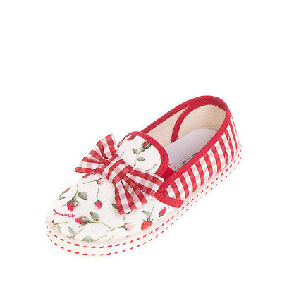 MONNALISA Slip On Shoes EU 29 UK 10.5 US 11.5 Floral & Gingham Made in Italy