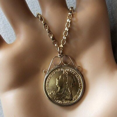 9 ct GOLD  second hand Victorian half sovereign pendant