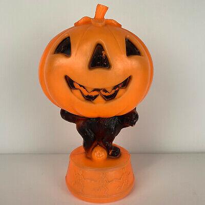 "Vintage Halloween Pumpkin Jack O Lantern Black Cat Skeleton Base Blow Mold 14"""
