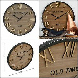 Benzara Wood Metal Wall Clock 36 D, Brown, Black Highly durable classic style