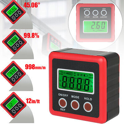 490digital Electronic Protractor Sea Level Angle Cube Gauge With Magnetic Base