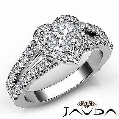 Split Shank Halo French Pave Set Heart Diamond Engagement Ring GIA E VVS2 1.46Ct