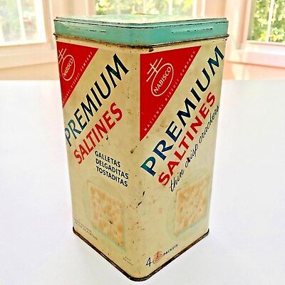 "Authentic Vintage 9"" NABISCO Premium Saltines Crackers Biscuit 4 Packets Tin Can for sale  Trenton"