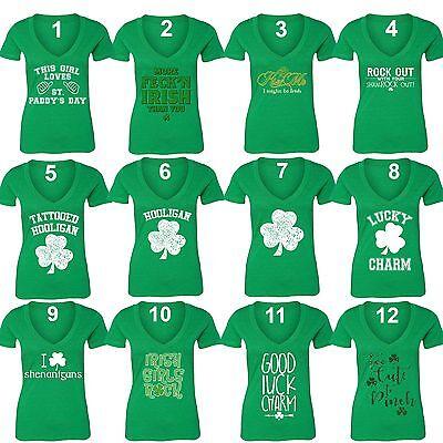 Women's St. Patrick's Day Shamrock Clover Paddy's Irish V-neck T-Shirt Green
