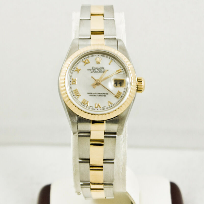 Rolex Ladys Steel & Gold Datejust Model 69173 Mop Roman Dial & Fluted Bezel