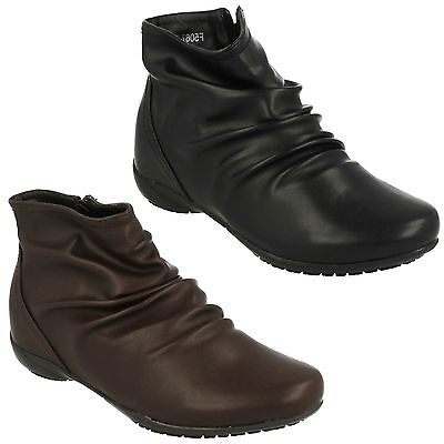 (F50675 LADIES DOWN TO EARTH CASUAL WINTER ROUCHED FLAT ANKLE BOOTS ZIP UP SHOES)