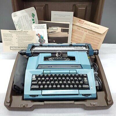 Vtg 1980 Smith Corona Coronet XL Blue Electric 6E Typewriter w/Case Fully Tested