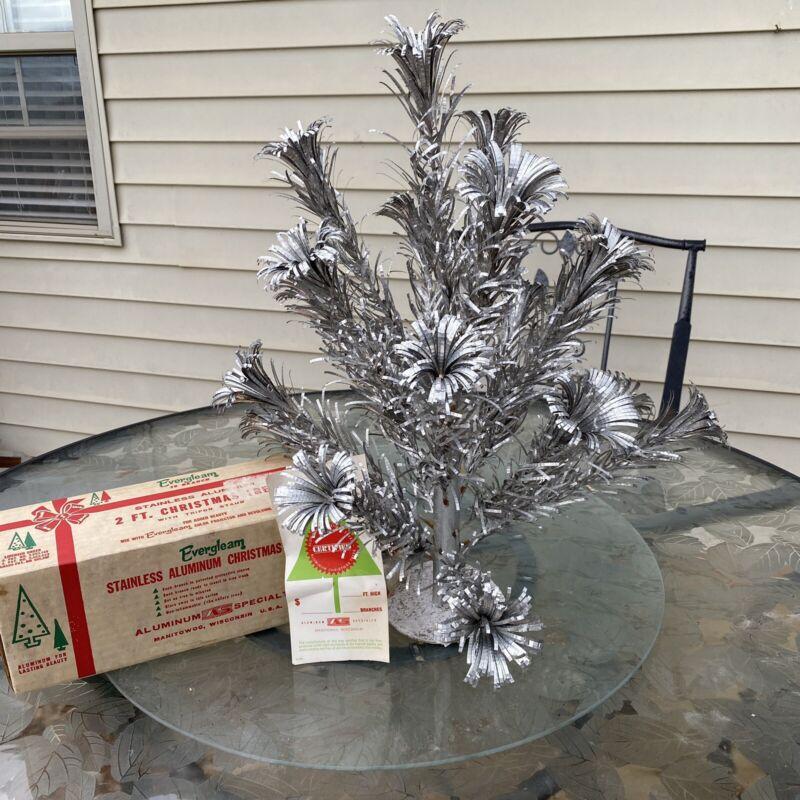VTG 2 FT SILVER STAINLESS EVERGLEAM POM POM ALUMINUM CHRISTMAS XMAS TREE W/ BOX
