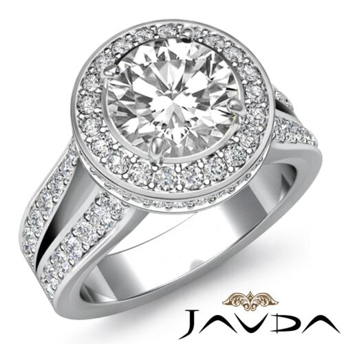 Round Diamond Engagement Gorgeous Halo Pave Ring GIA F VS1 14k White Gold 2.8ct