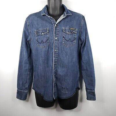 Superdry Copper Black Denim Shirt L Blue Jean Snap Front Western