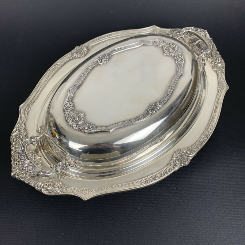 Antique Wallace Rosepoint Silver Plate Covered Vegetable Serving Bowl H88603