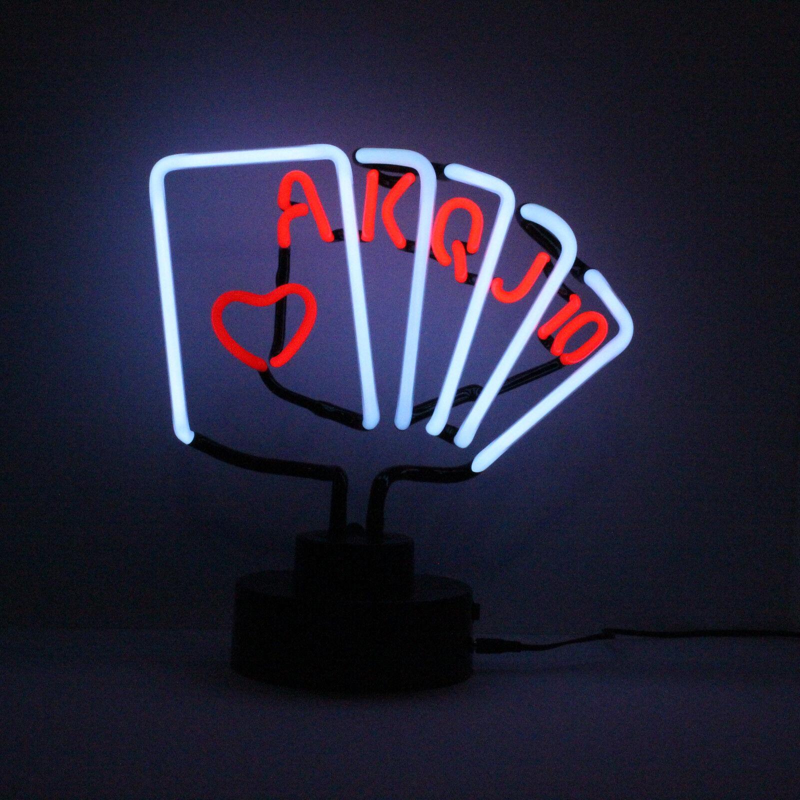 Meglio Neon O Led dettagli su poker carte neon luce scultura royal flush gioco tema camera  tavolo lampada 31cm
