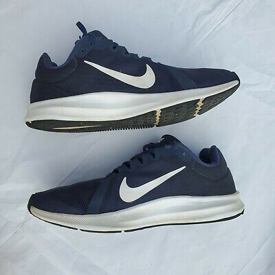 Nike Downshifter 8 Men's Size 9.5 Running Athletic Shoes Navy Blue and White