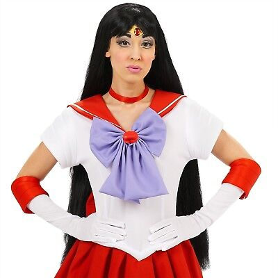SAILOR MOON SAILOR MARS WIG SEXY LONG BLACK GOTH ANIME HALLOWEEN COSPLAY COSTUME