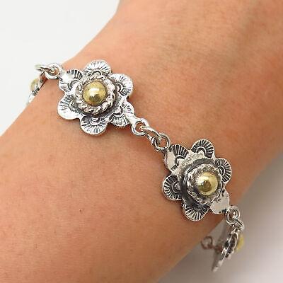 """925 Sterling Silver Vintage Mexico 2-Tone Tribal Floral Design Link Bracelet 7"""""""