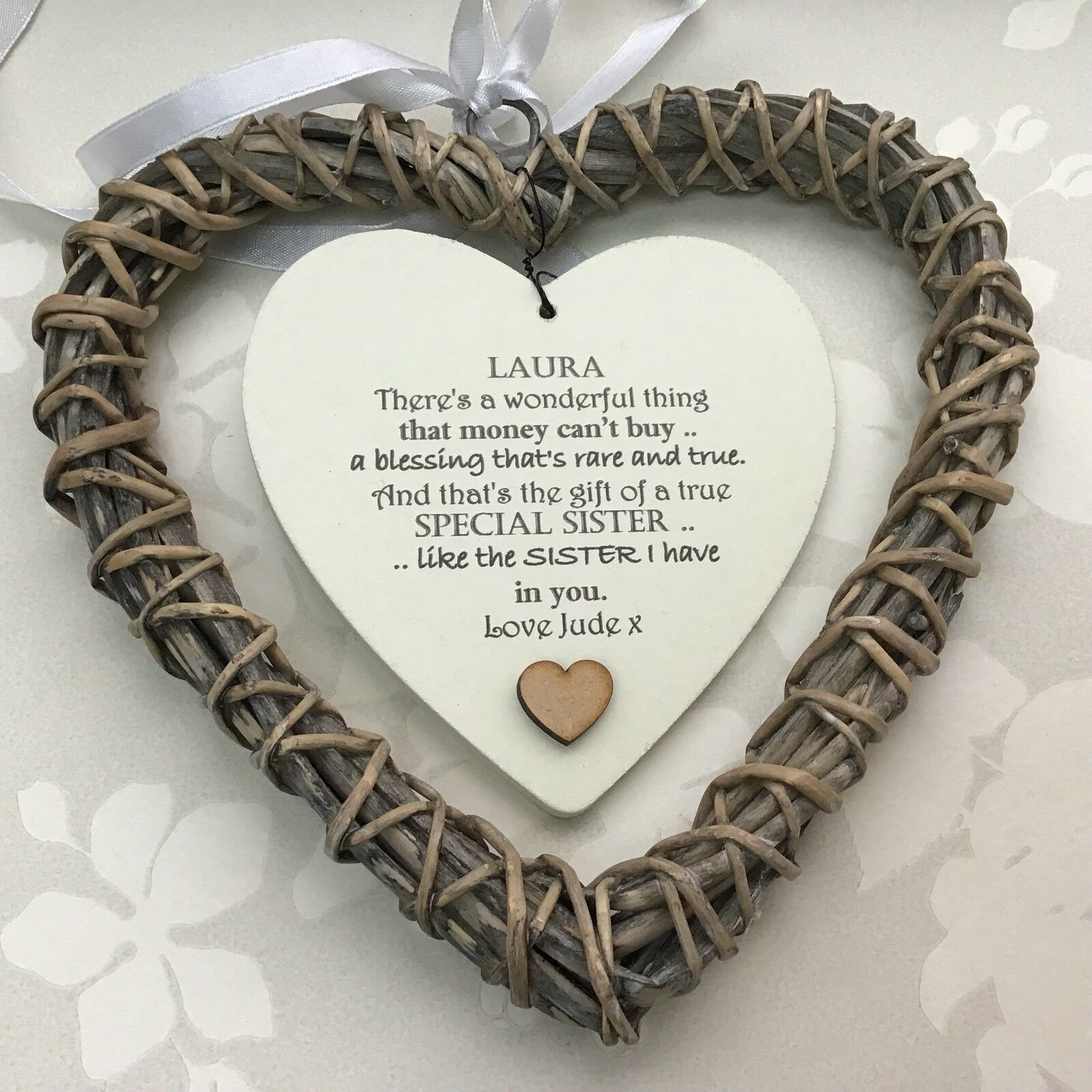 Shabby personalised Chic Special SISTER Present ~ ANY NAMES ~ Willow Heart Gift - 253985000274